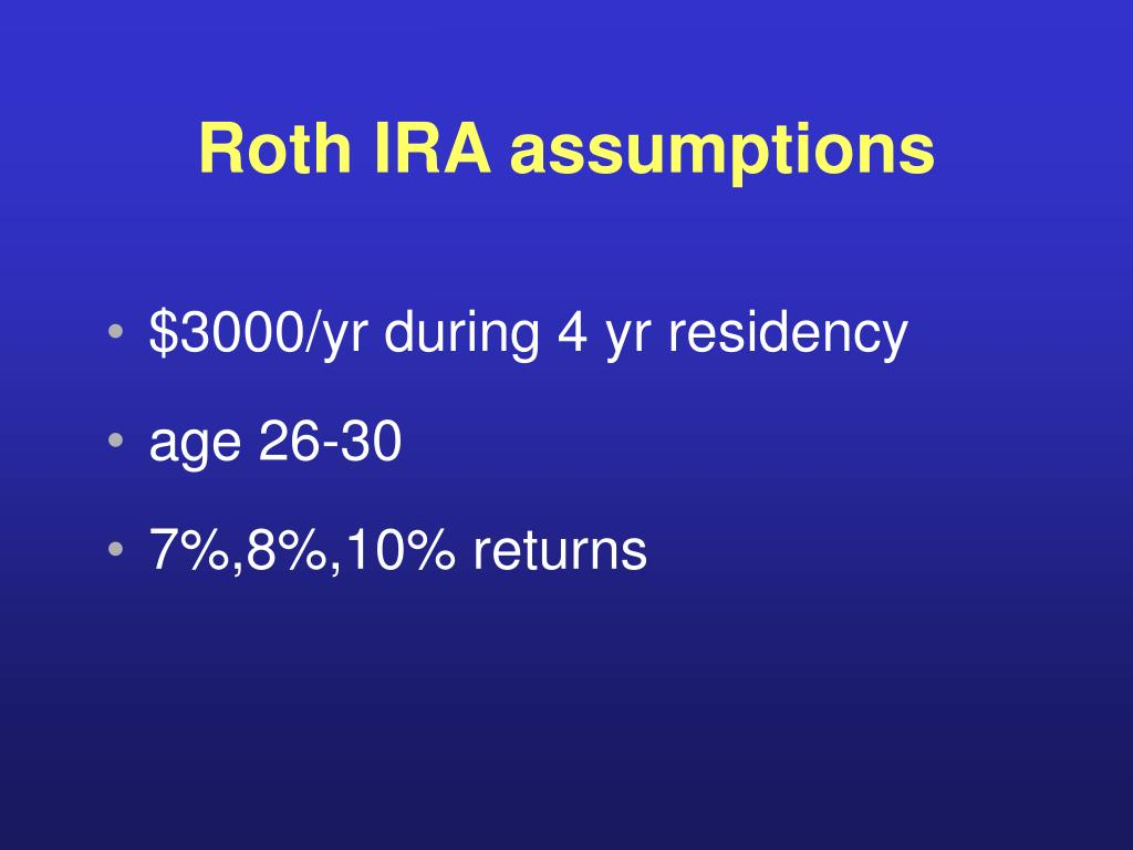 Roth IRA assumptions