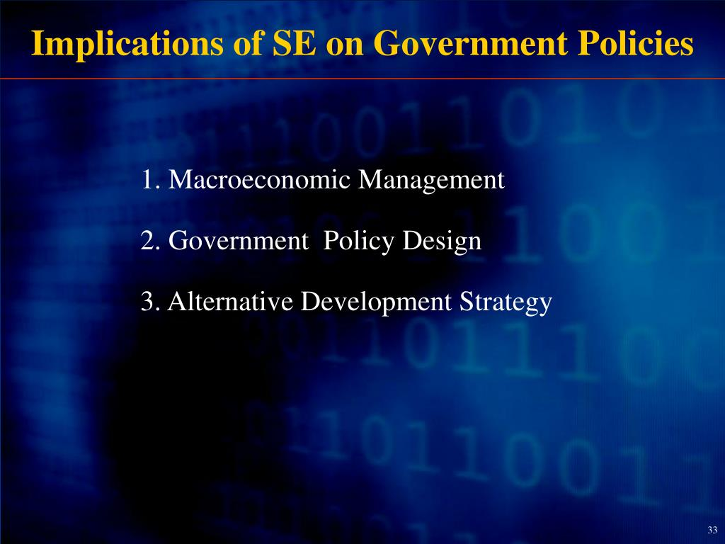 Implications of SE on Government Policies