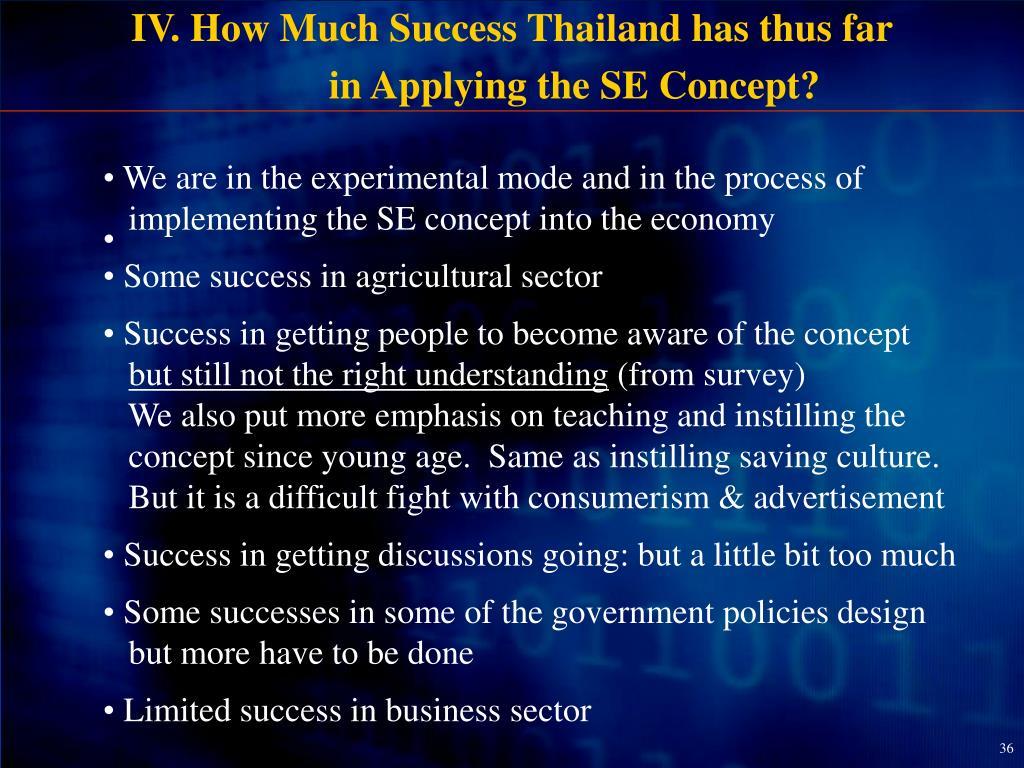 IV. How Much Success Thailand has thus far