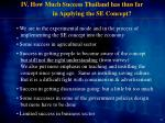 iv how much success thailand has thus far in applying the se concept