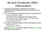 sih and christensen 2001 meta analysis