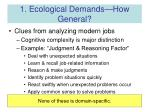 1 ecological demands how general