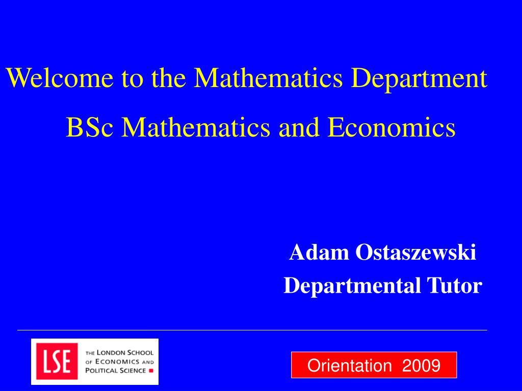 PPT - BSc Mathematics and Economics PowerPoint Presentation