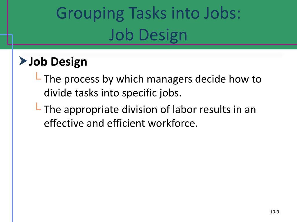 Grouping Tasks into Jobs: