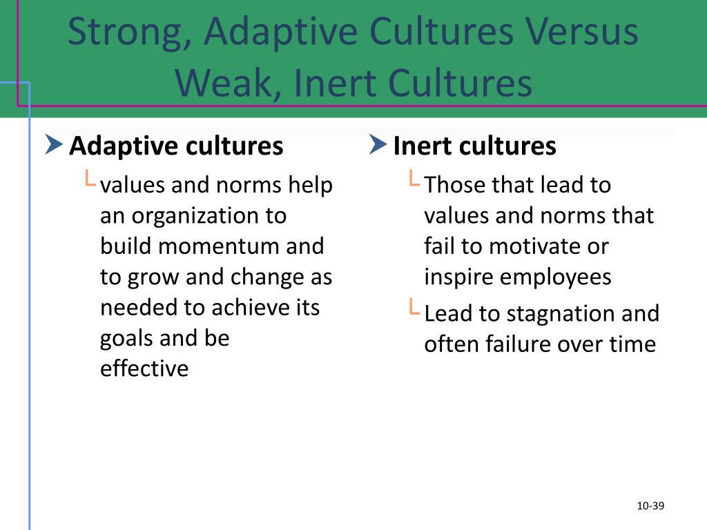 Strong, Adaptive Cultures Versus Weak, Inert Cultures