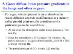 5 gases diffuse down pressure gradients in the lungs and other organs