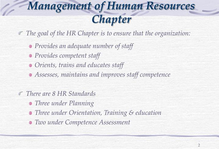 Management of human resources chapter