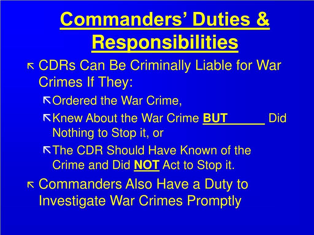 Commanders' Duties & Responsibilities