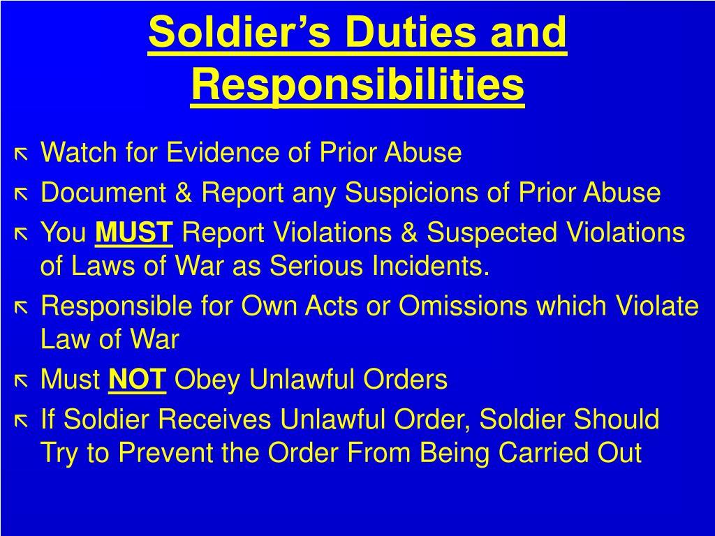 Soldier's Duties and Responsibilities