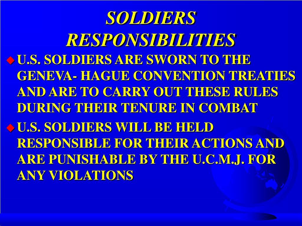 SOLDIERS RESPONSIBILITIES