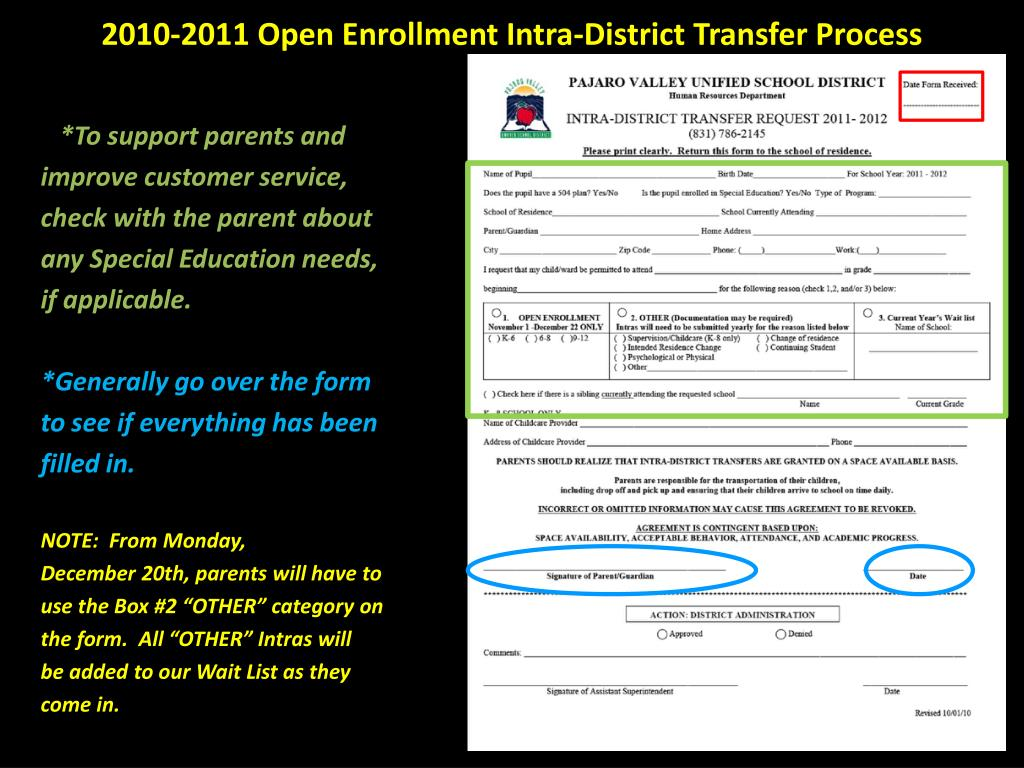 2010-2011 Open Enrollment Intra-District Transfer Process