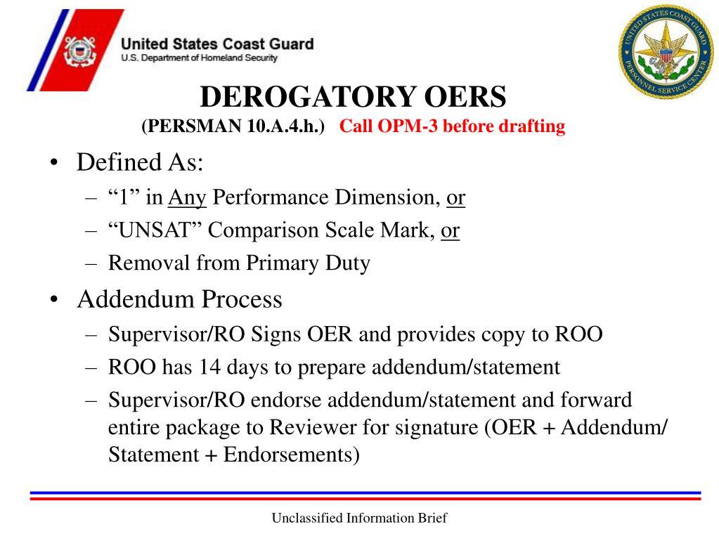 DEROGATORY OERS