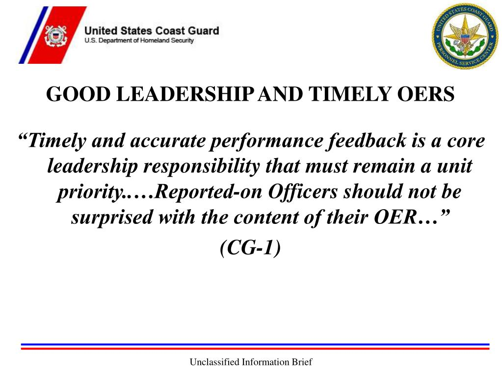 GOOD LEADERSHIP AND TIMELY OERS