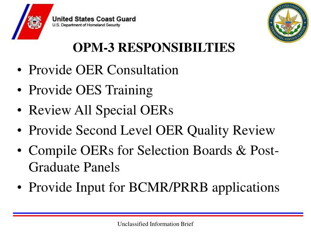 OPM-3 RESPONSIBILTIES