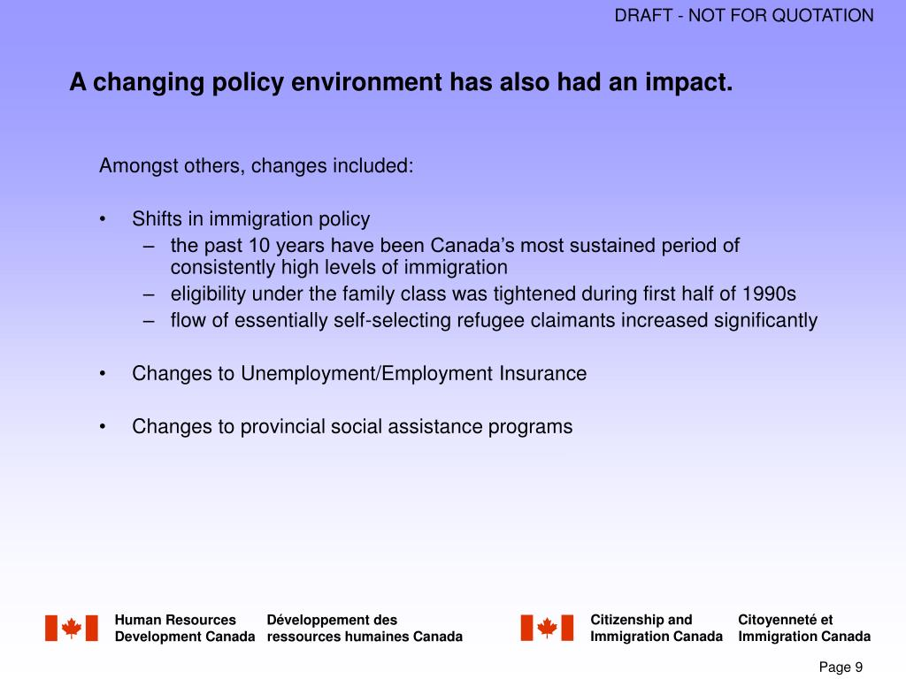 A changing policy environment has also had an impact.