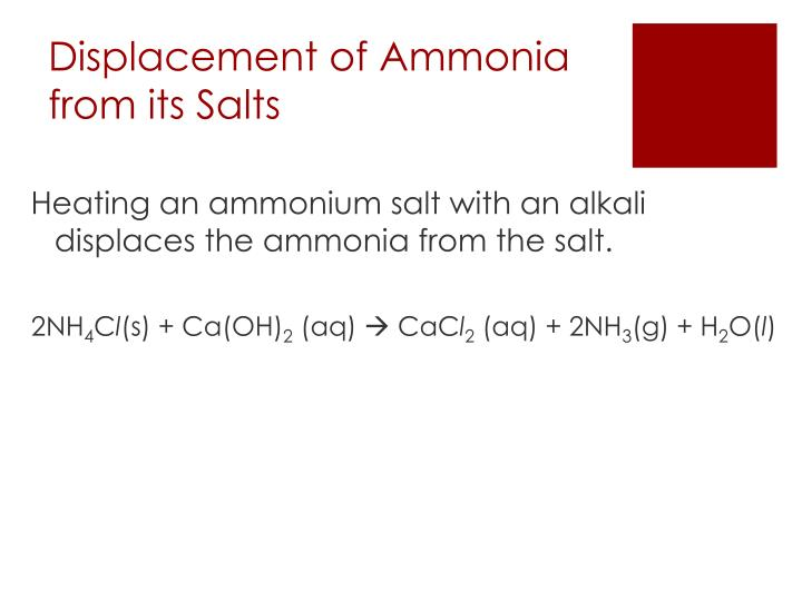 ammonia and its salt A summary of the reactions of phenylamine (aniline) in which it acts as a fairly straightforward primary amine.