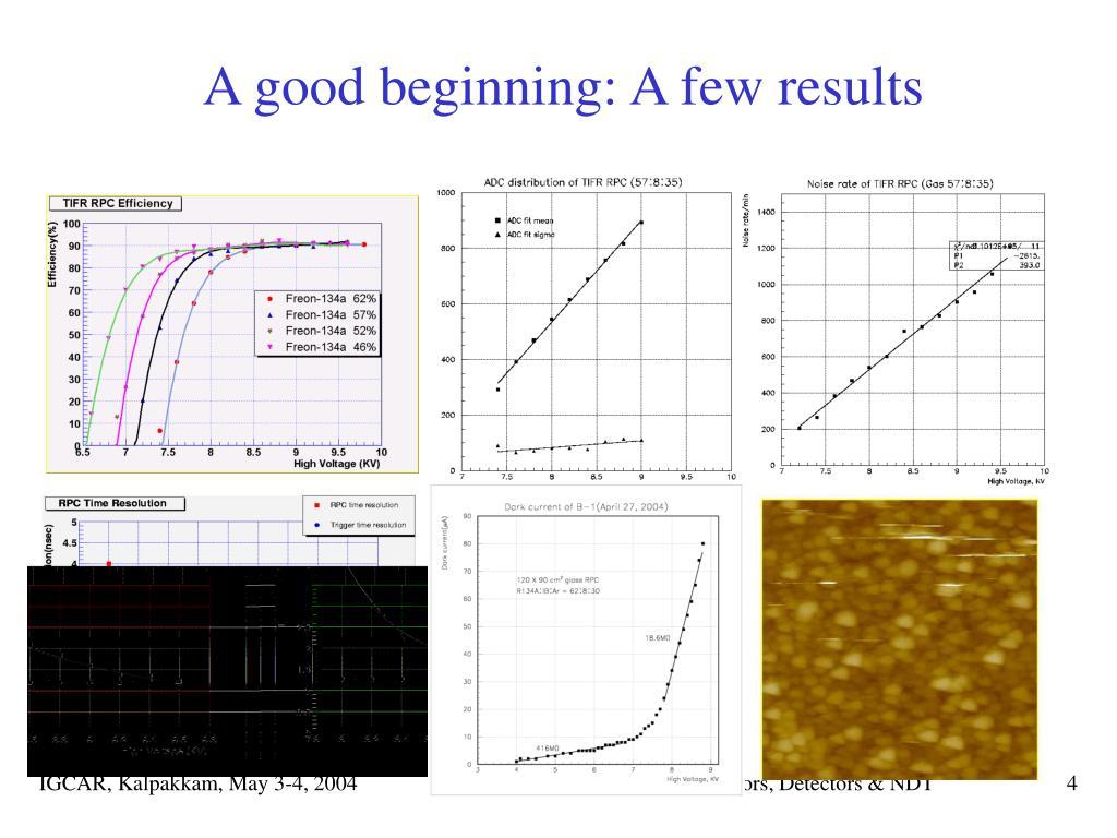 A good beginning: A few results