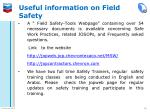useful information on field safety