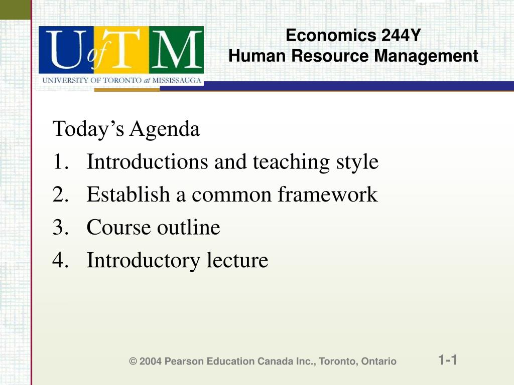 economics 244y human resource management l.