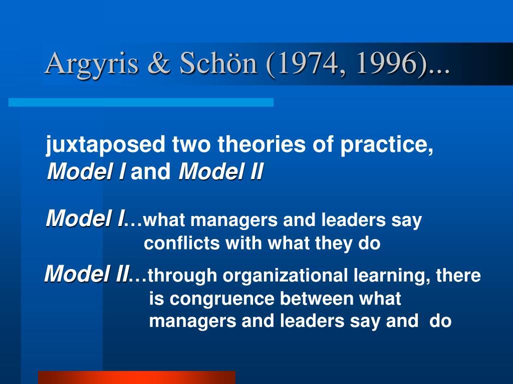 Argyris & Schön (1974, 1996)...