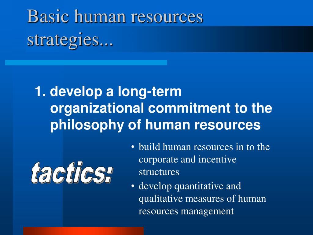 Basic human resources strategies...