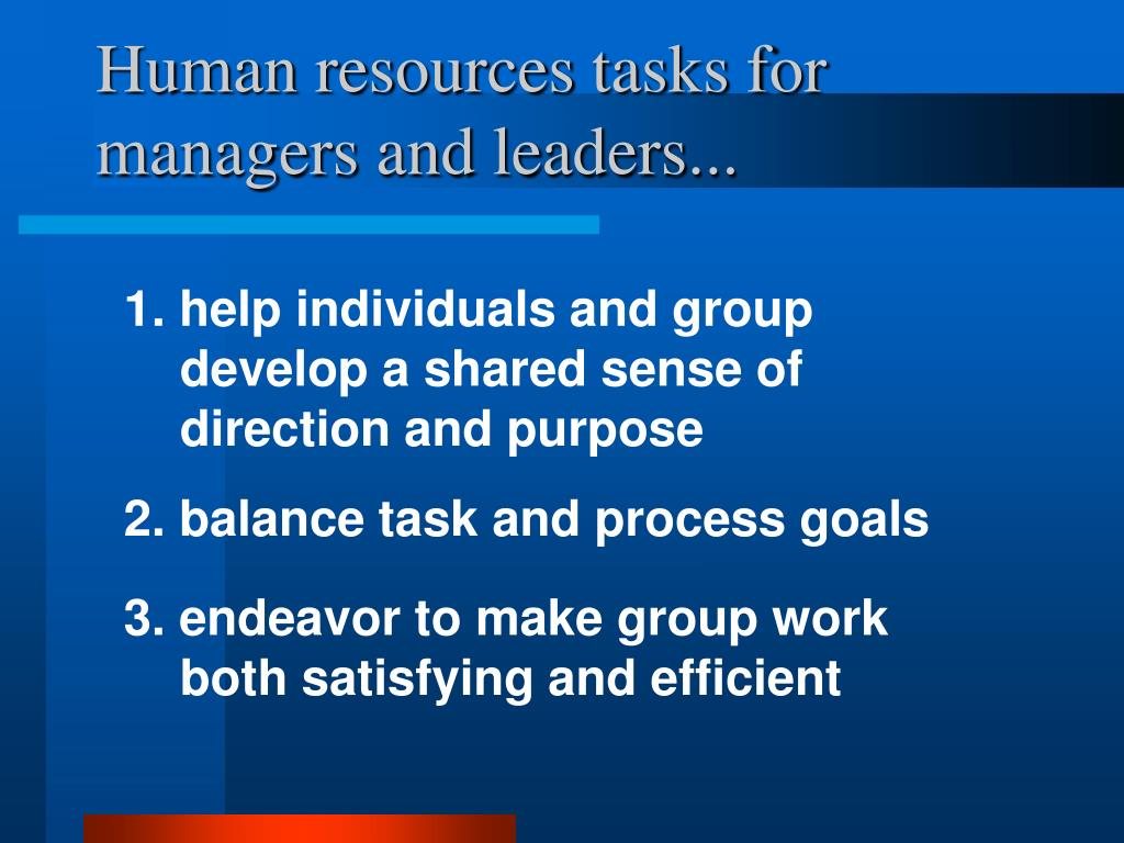 Human resources tasks for managers and leaders...