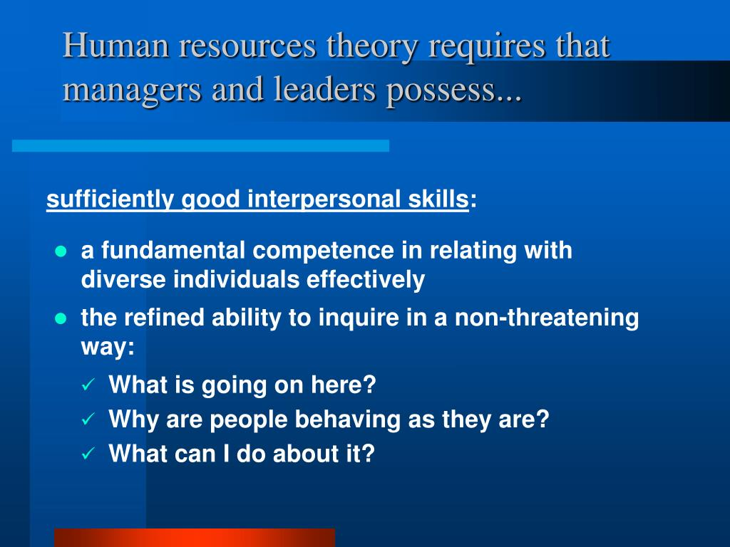 Human resources theory requires that managers and leaders possess...