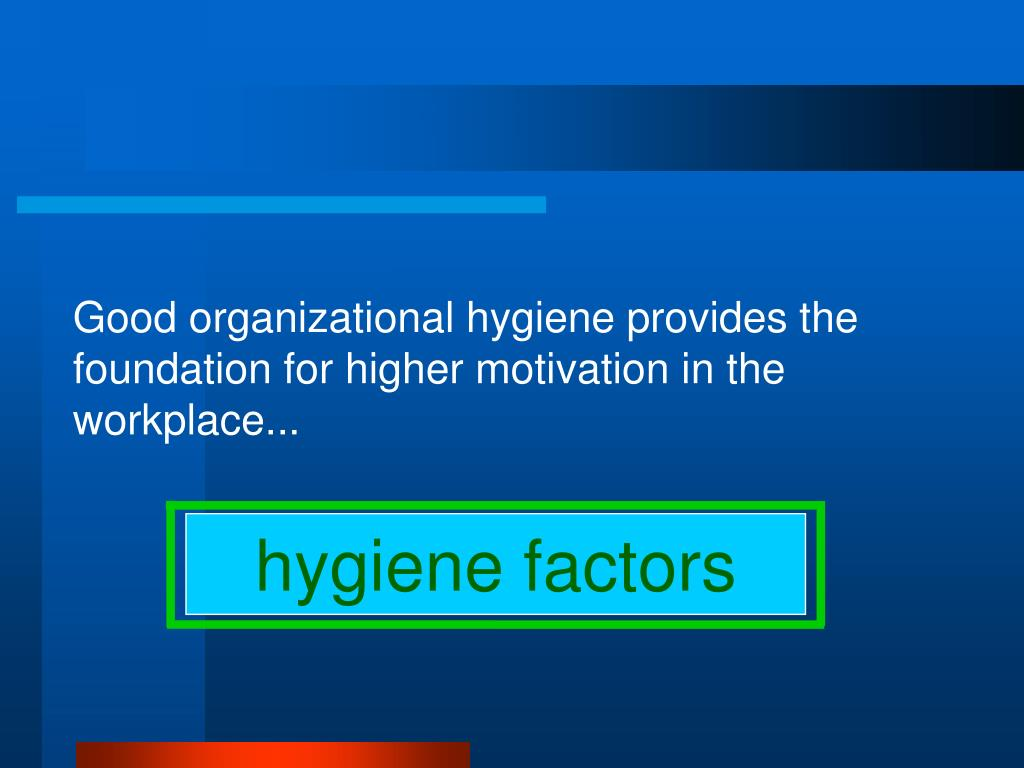 Good organizational hygiene provides the foundation for higher motivation in the workplace...