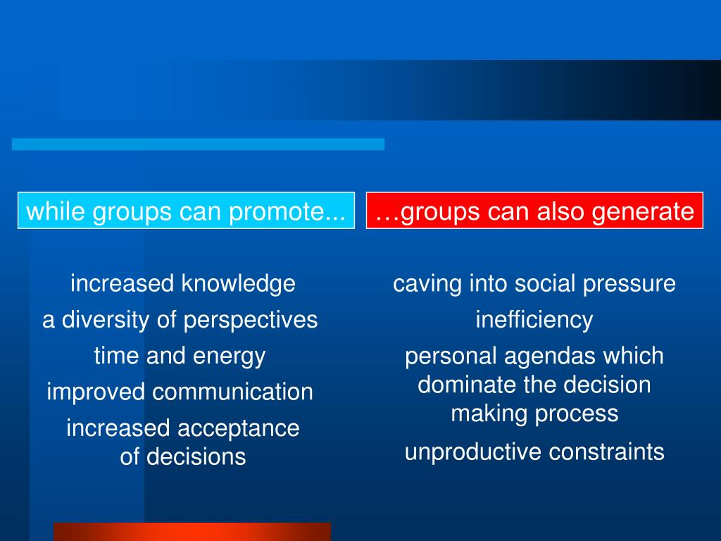 while groups can promote...