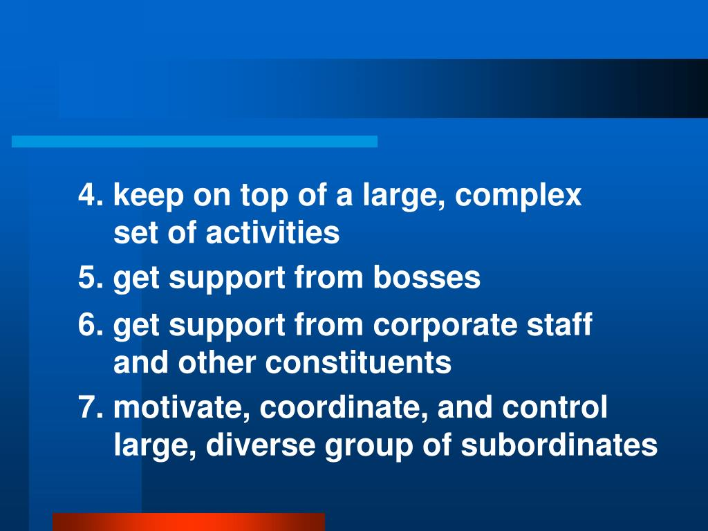 4. keep on top of a large, complex set of activities