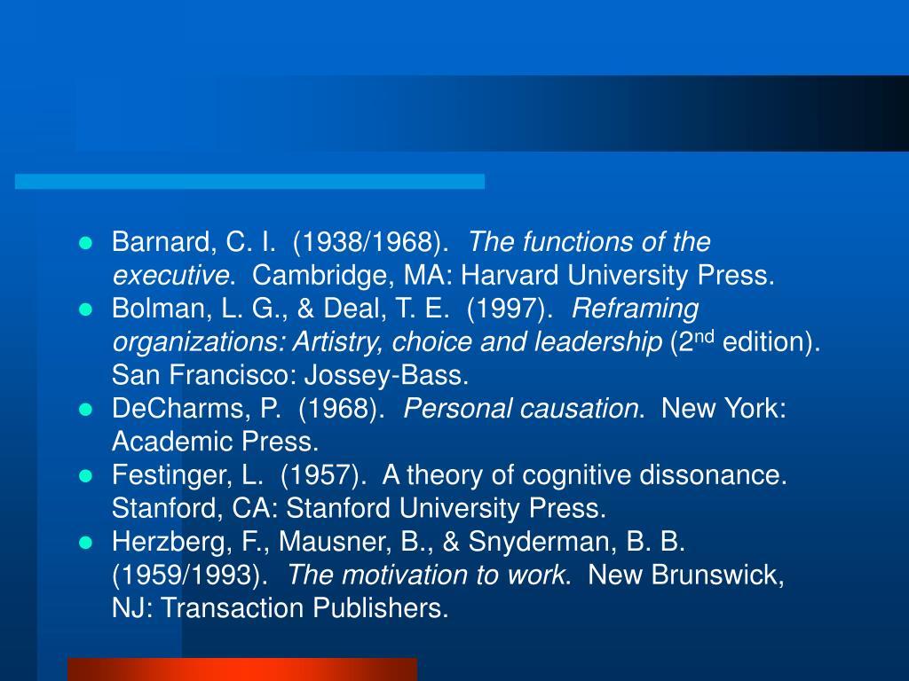 Barnard, C. I.  (1938/1968).