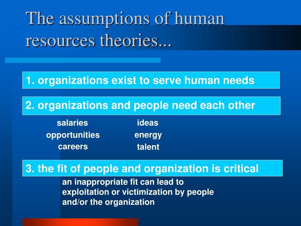 The assumptions of human resources theories...