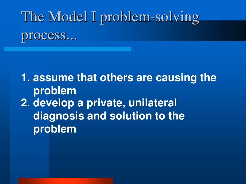 The Model I problem-solving process...