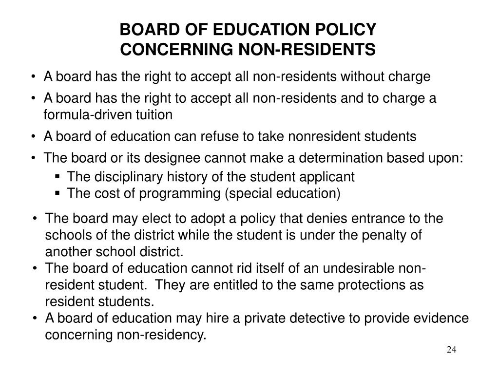 BOARD OF EDUCATION POLICY CONCERNING NON-RESIDENTS