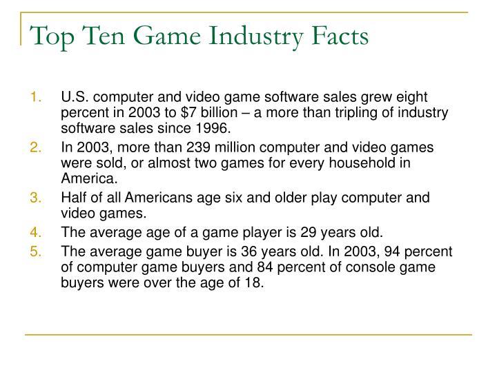 Top ten game industry facts