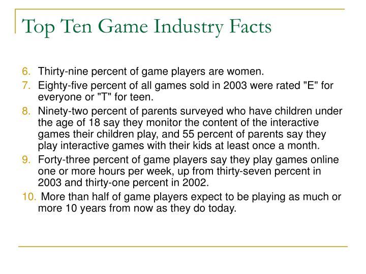 Top ten game industry facts3