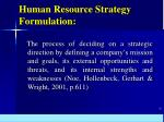 human resource strategy formulation