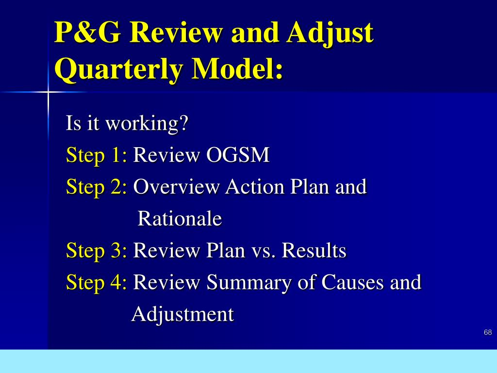 P&G Review and Adjust