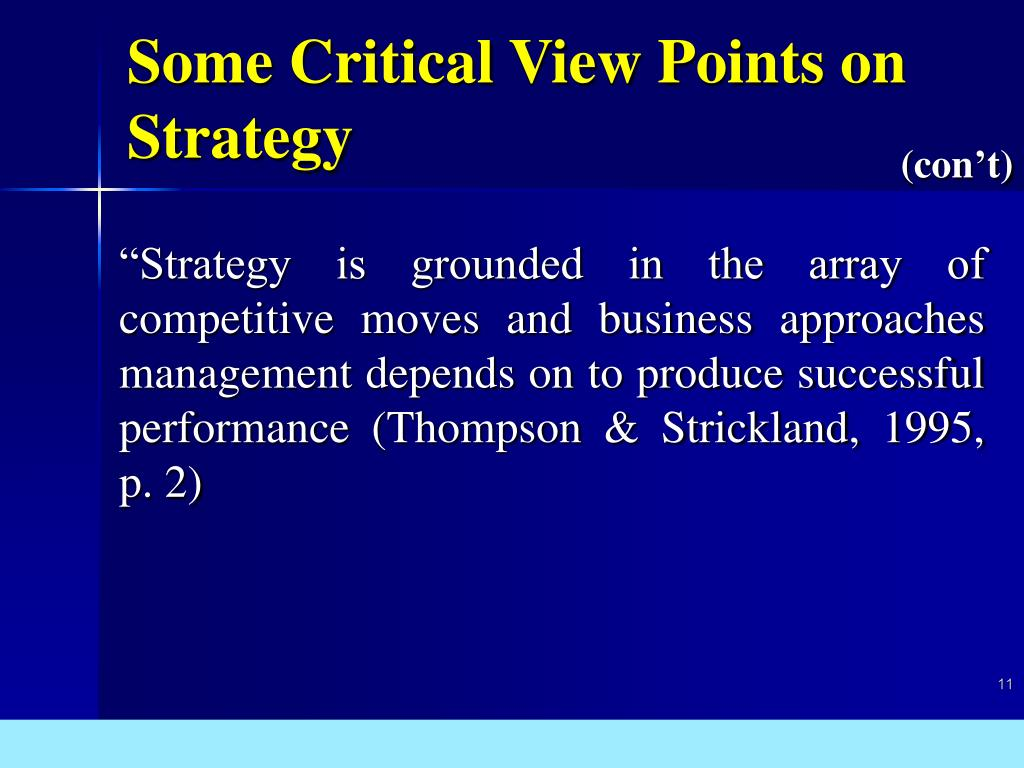 Some Critical View Points on Strategy