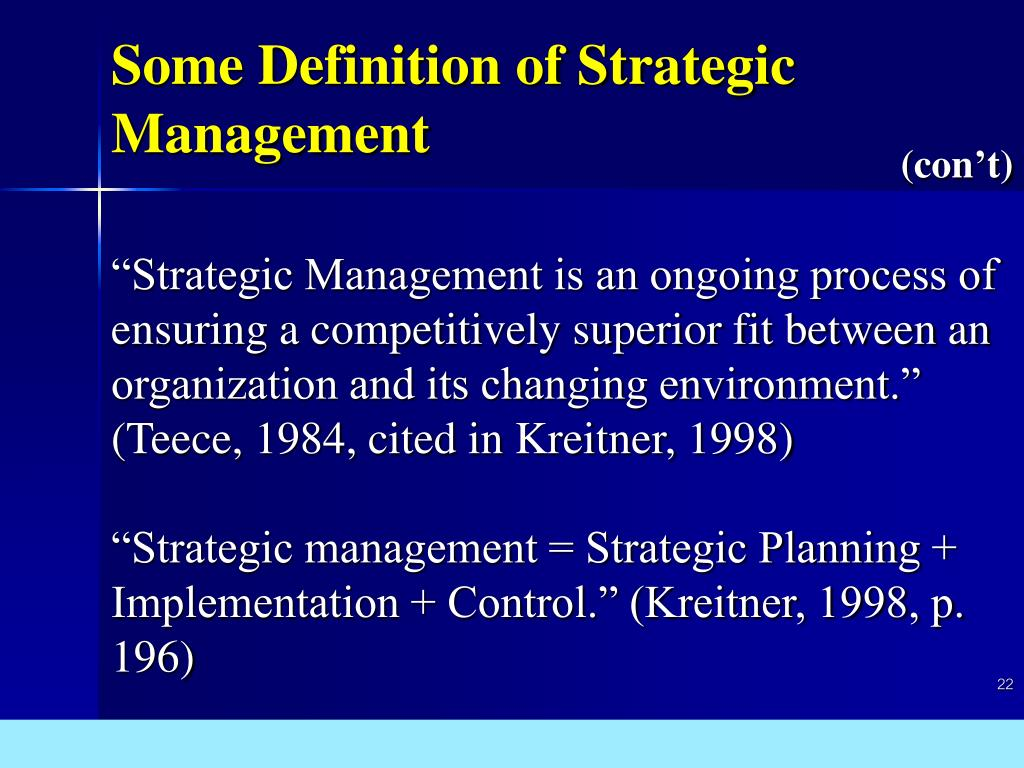 Some Definition of Strategic Management