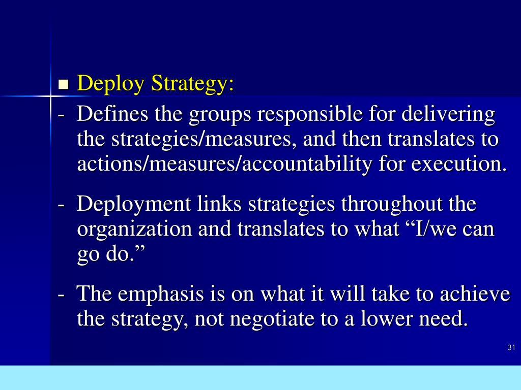 Deploy Strategy:
