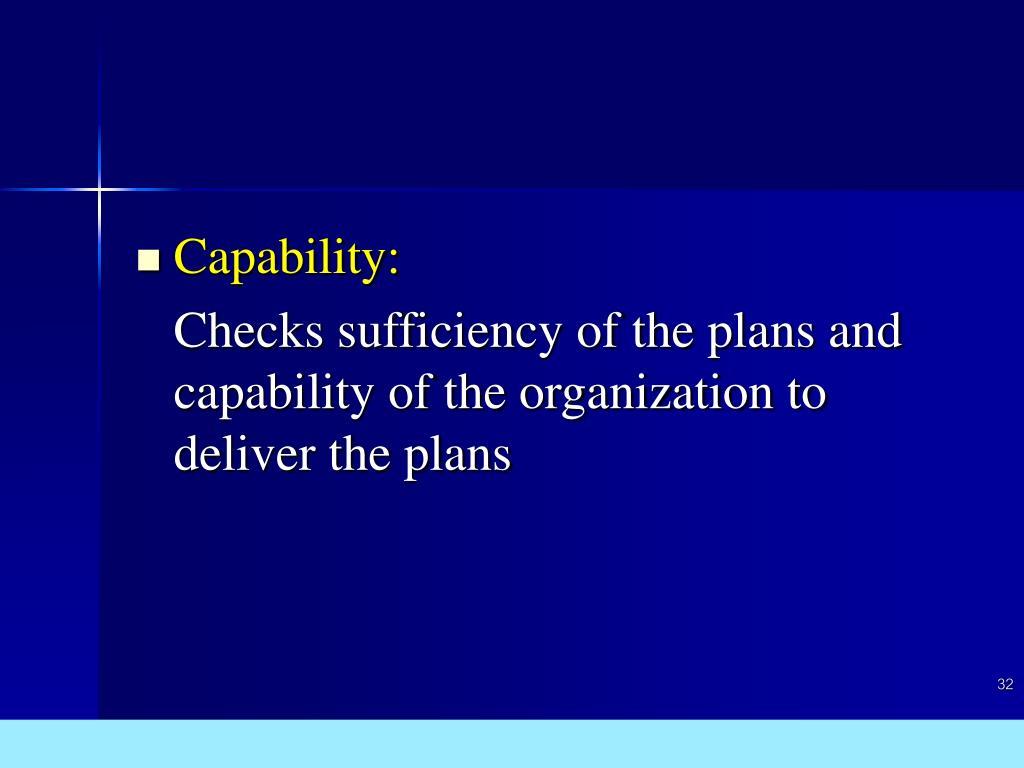 Capability: