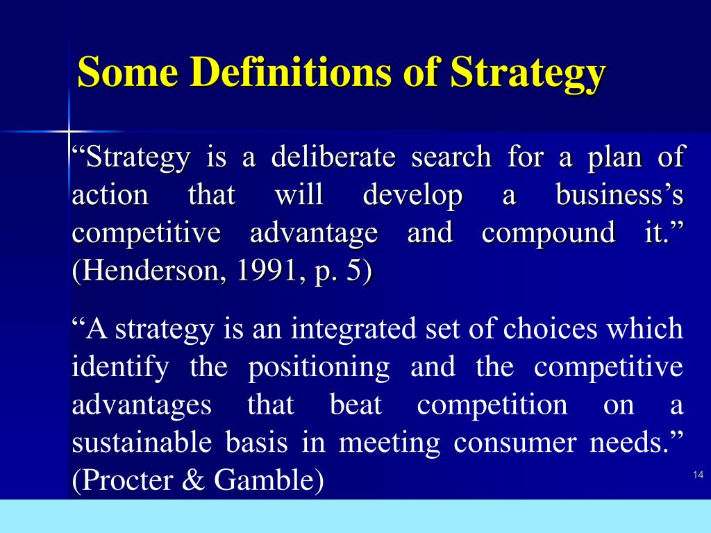 Some Definitions of Strategy