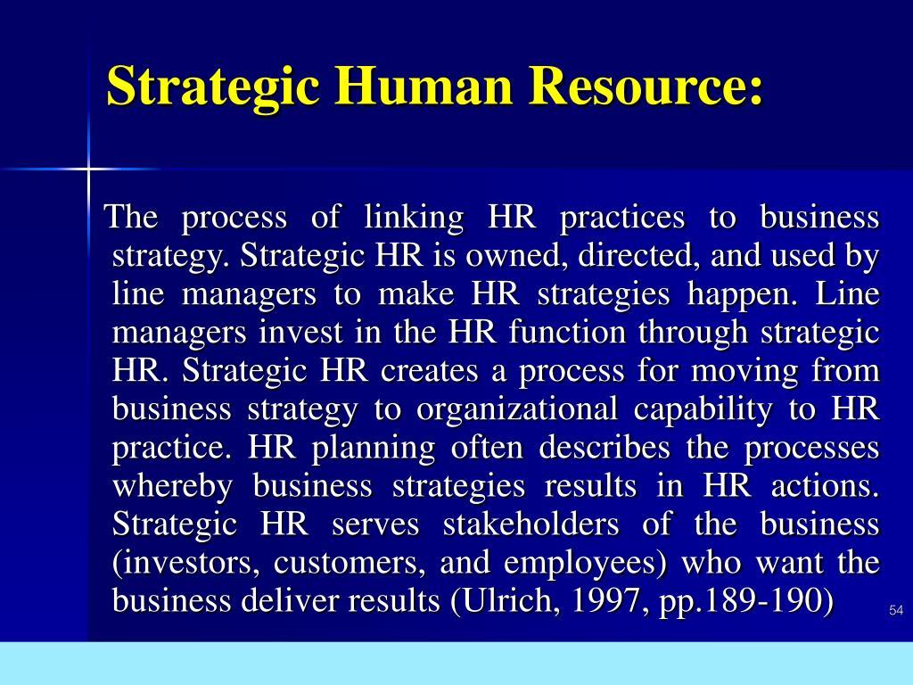 Strategic Human Resource: