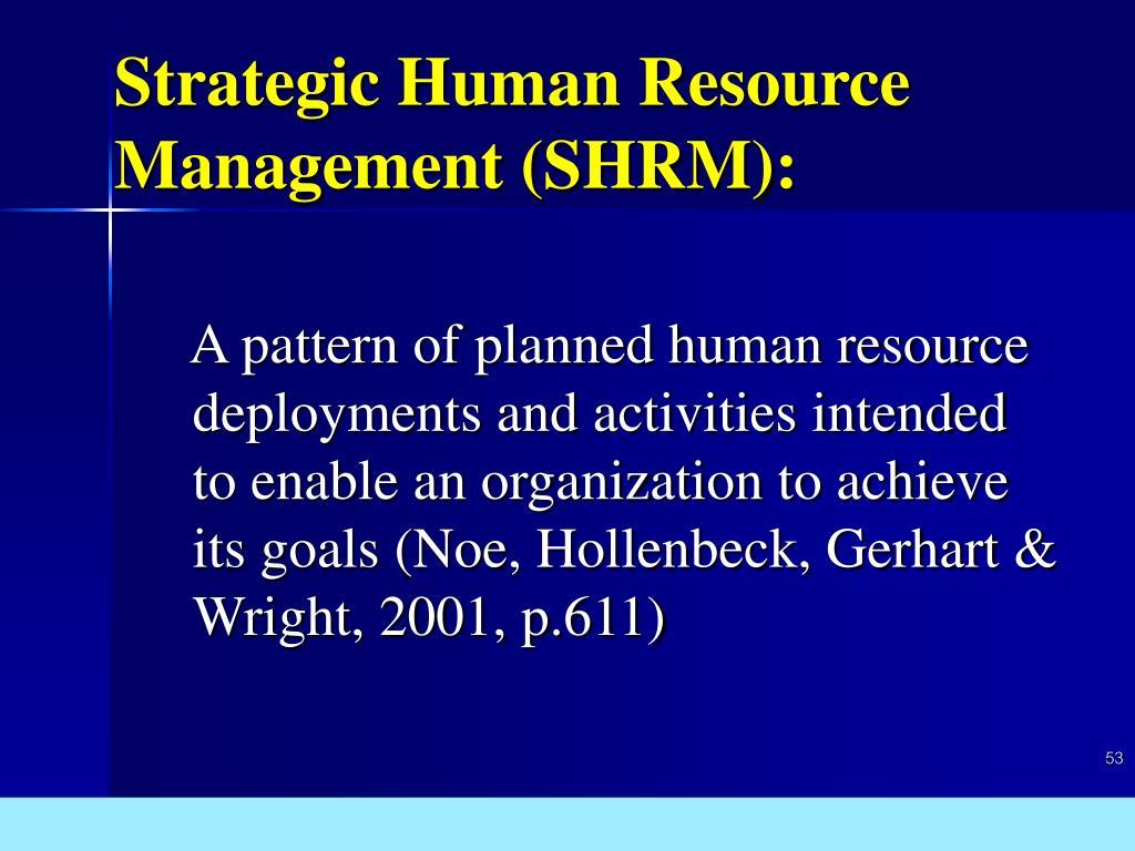 Strategic Human Resource Management (SHRM):