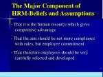 the major component of hrm beliefs and assumptions
