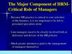 the major component of hrm critical role of managers