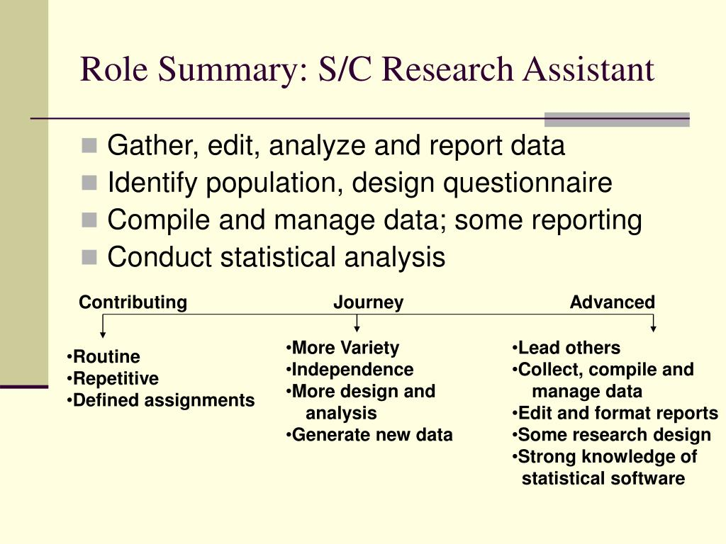 Role Summary: S/C Research Assistant