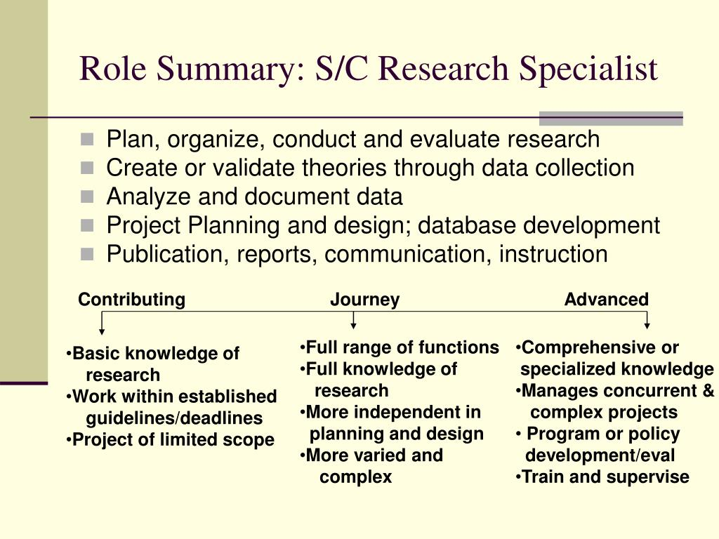 Role Summary: S/C Research Specialist