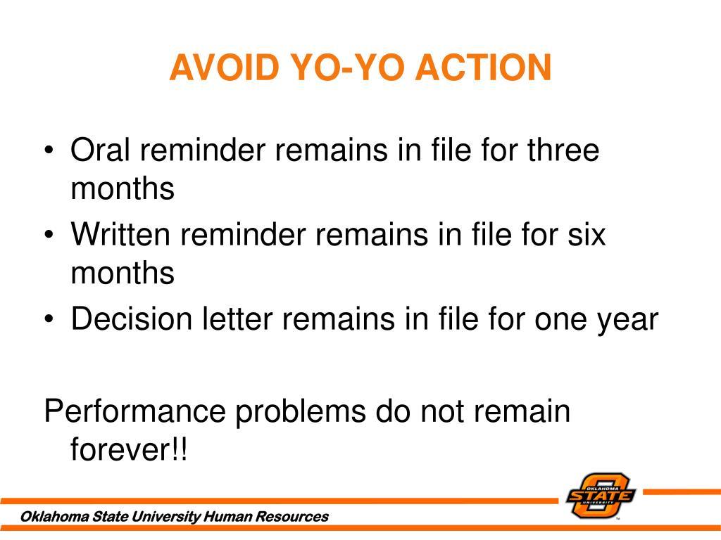 AVOID YO-YO ACTION
